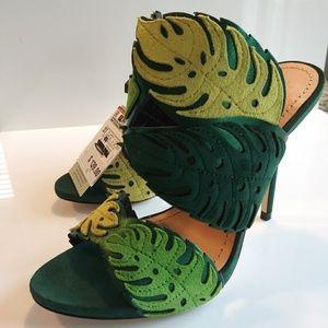 New! Zara Green Leaf Wrap Around Leather Heels